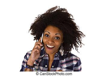 junger, afrikanische amerikanische frau, auf, cellphone