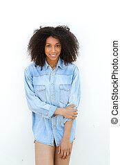 junger, afrikanische amerikanische frau, lächeln, mit, blaues hemd