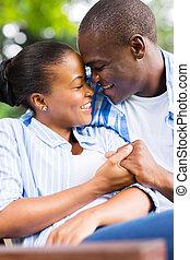 junger, afrikanische amerikanische paare, liebe
