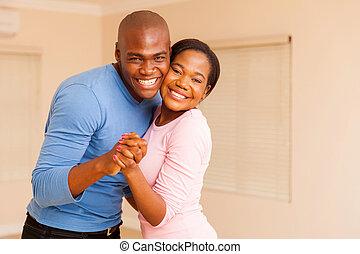 junger, afrikanische amerikanische paare, tanzen