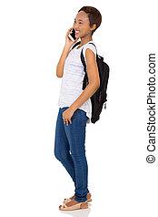 junger, afrikanischer amerikaner, student, bilden telefonanrufes