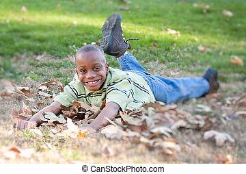 junger, afrikanischer amerikanischer junge, park
