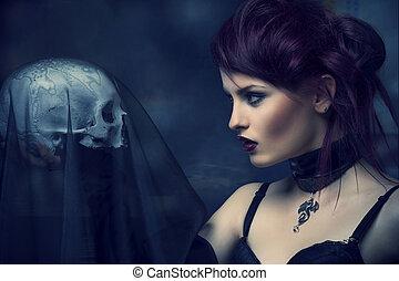 junger, alternative, frau, mit, a, skull.