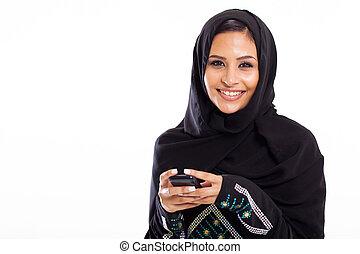 junger, arabisches , frau, mit, klug, telefon