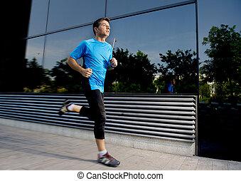junger, attraktive, bemannen lauf, und, training, auf, städtisch, straße, hintergrund, auf, sommer, workout, in, sport, üben