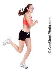 junger, attraktive, frau, jogging, jogger, sport, freigestellt