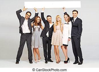 junger, attraktive, friends, tragen, elegant, kleidung