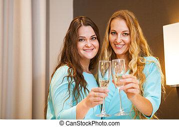 junger, brille, elegant, frauen porträt, champagner, feier