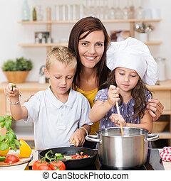 junger, bruder schwester, lernen, kochen