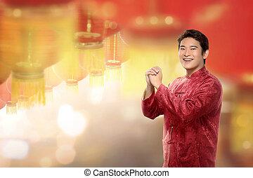 junger, chinesisches , mann, in, cheongsam, klage, stehende , mit, hängender , laternen