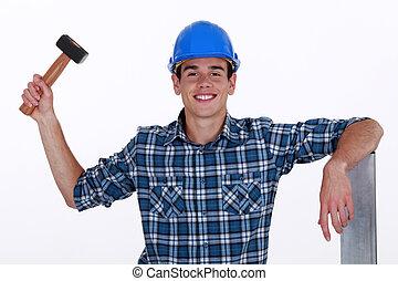 junger, dachdecker, mit, hammer