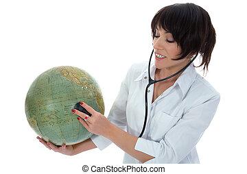 junger doktor, mit, stethoskop, und, erdball