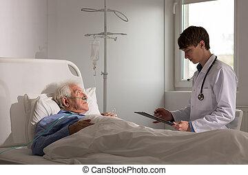 junger doktor, sprechende , mit, patient