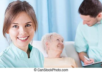 junger, doktoren, während, arbeit