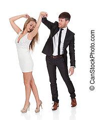 junger, elegant, ehepaar, tanzt