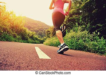 junger, fitness, frau, läufer