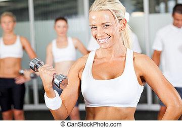 junger, fitness, frau, machen, übung