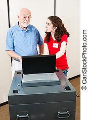 junger, freiwilliger, hilft, wähler