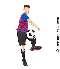 junger, fußballspieler, treten, kugel