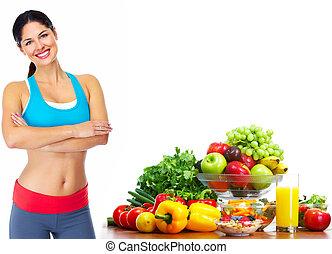 junger, gesunde frau, mit, fruits.