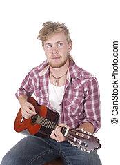 junger, gitarrist, spielende