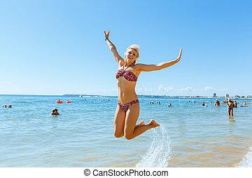 junger, glückliche frau, in, bikini