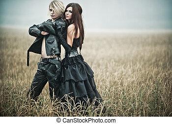 junger, goth, paar- portrait
