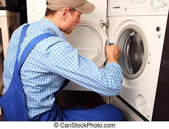 junger, handwerker, reparatur, wäsche, maschine