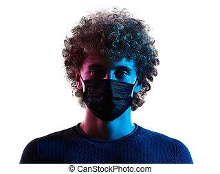 junger, headshot, schatten, mann, porträt, gesicht, hintergrund, maske, weißes