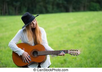 junger, hippie, m�dchen, mit, a, gitarre