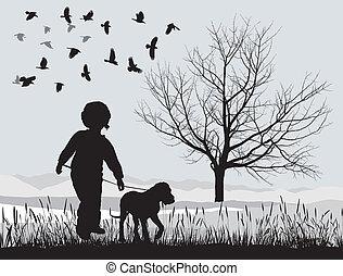junger hund, winter, junge