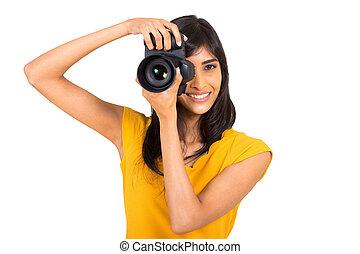 junger, indische frau, machen fotos