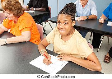 junger, invaliden gemachte frau, in, hochschule