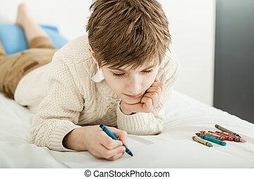 taschenlampe junge seine junger bett traurige unter. Black Bedroom Furniture Sets. Home Design Ideas