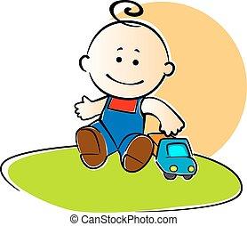 junger junge, spielende , mit, a, spielzeuglastwagen