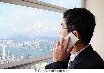 junger, kaufleuten zürich, sprechende , auf, klug, telefon