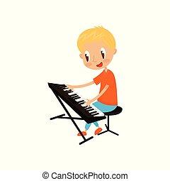 junger, keyboardist, spielende , auf, synthesizer, wenig,...
