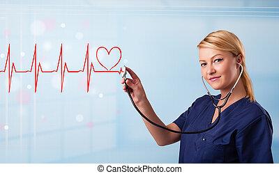 junger, krankenschwester, zuhören, zu, abstrakt, puls, mit, rotes herz