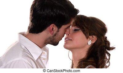 junger, liebhaber, küssende , einander