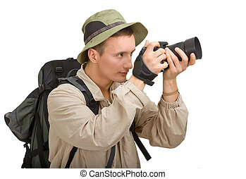 junger mann, angezogene , in, a, tourist