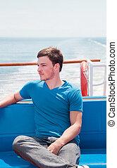 junger mann, auf, a, yacht