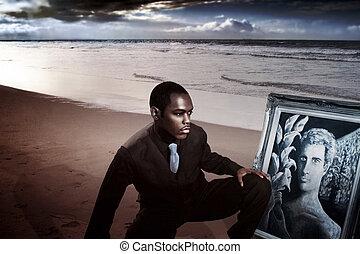 junger mann, auf, sandstrand, in, klage