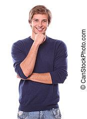 junger mann, denken, und, lächeln, freigestellt, auf, a,...