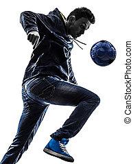 junger mann, fußball, freestyler, spieler, silhouette