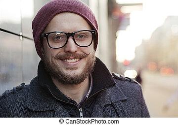 junger mann, in, brille