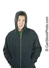 junger mann, in, hoodie