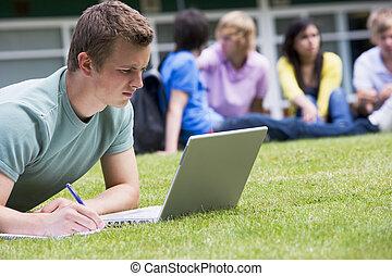 junger mann, laptop benutzend, auf, campus, rasen, mit, andere, studenten, entspannen