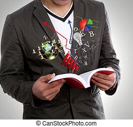junger mann, lesend buch