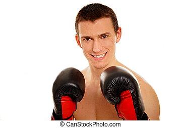 junger mann, mit, boxer