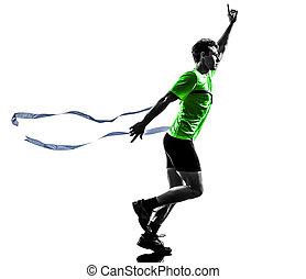 junger mann, sprinter, läufer, rennender , gewinner, zielband, silhouette